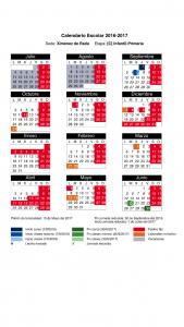 Calendario curso escolar 2016-2017.